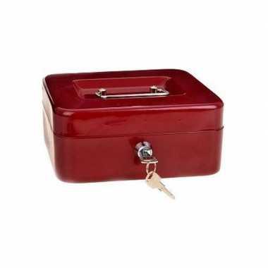 Geldkistje/kluisje rood met inleglade 20 cm