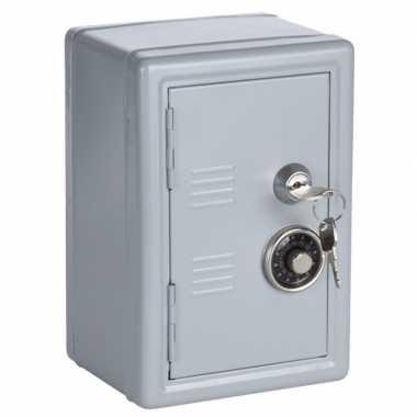 Grijs geldkistje/kluisje met cijferslot en sleutel 19 cm