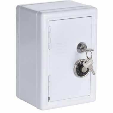 Wit geldkistje/kluisje met cijferslot en sleutel 19 cm