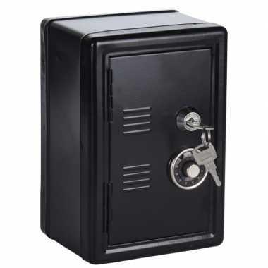 Zwart geldkistje/kluisje met cijferslot en sleutel 19 cm